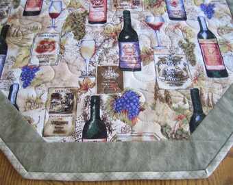 "Quilted Octagon Mat - 22"" diameter in a Vineyard pattern"