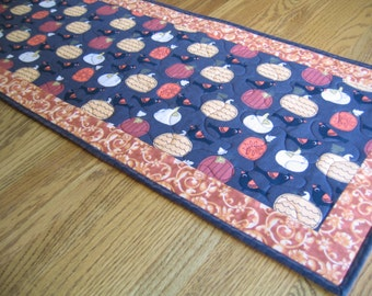 Quilted Table Runner with Pumpkins and Birds