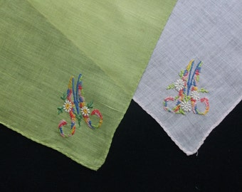 Pair of Monagrammed Hankies Script M in Vibrant Colors  Free Shipping with US