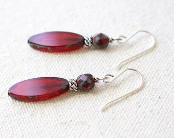 Red Spindle Earrings
