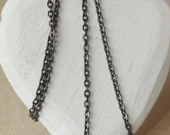 14 inch - 40 inch antiqued silver chain necklace, MEDIUM dark silver tone necklace, 4mm link gunmetal plated chain, almost black chain SF83