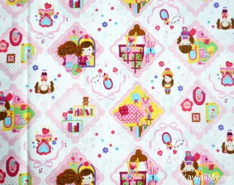 Kawaii Japanese Fabric - Cute Girls on Off-White - Fat Quarter (ca0913)