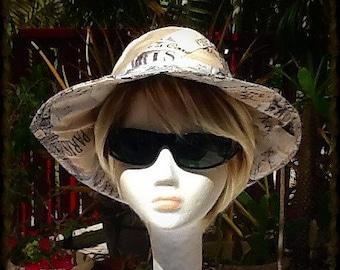 Paris Theme Sun Hat in Beige, Cream and Gray