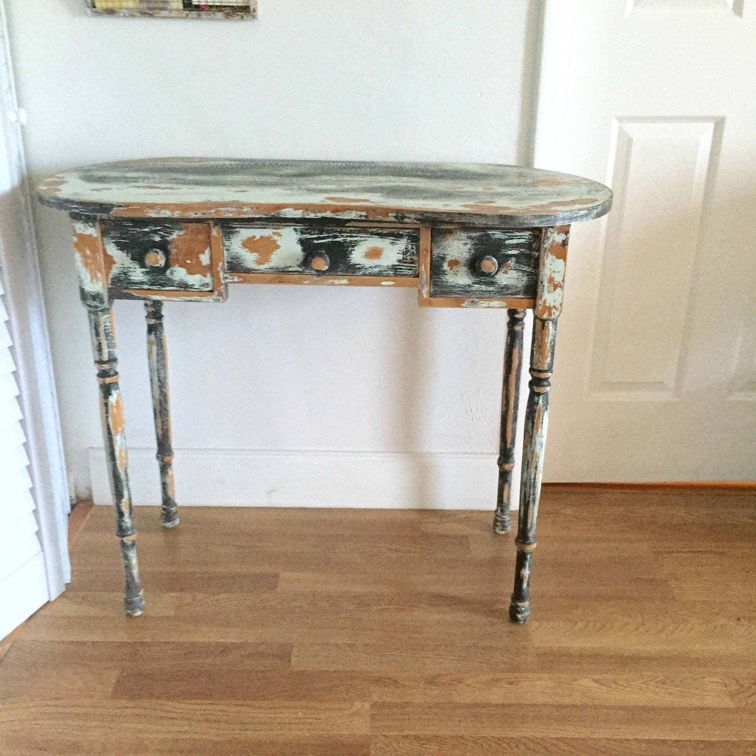 Distressed Foyer Console Table : Shabby chic desk black white sofa table