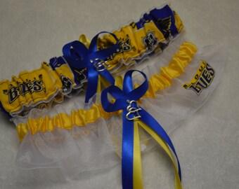 Handmade wedding garters keepsake and toss Wedding garters set ST. LOUIS BLUES bridal set