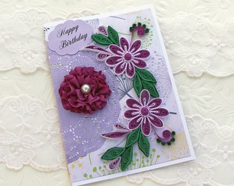 Card - Paper Quilling -Happy Birthday -Mom -Daughter- Wife -Paper Quilled -Thinking of You -Floral Art- Purple - Pearl Ribbon Flower -Doily