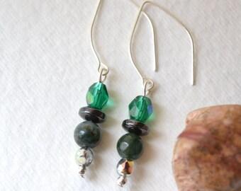Fancy Jasper, Hematite Earrings - Gemstone, Silver - Handmade OOAK - Metaphysical Healing Jewelry, Free US Shipping, Green Dangles, Crystals