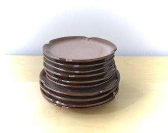 frankoma plainsman satin brown salad dessert plates rustic pottery set of four