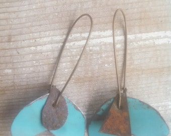 painted tin earrings in turquoise