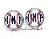 Baseball Monogram Earrings, Monogram Stud Earrings, Monogram Jewelry, Personalized Jewelry  (511)