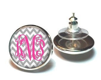 Gray Chevron Monogram Earrings, Personalized Monogram Stud Earrings, Monogram Jewelry, Bridesmaid Jewelry (498)