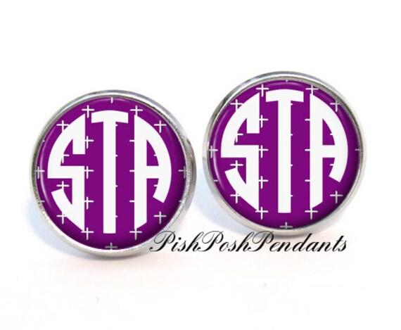 Monogram Stud Earrings, Purple Cross Monogram Stud Earrings, Monogram Earrings, Monogram Jewelry (341)