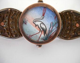 Victorian Brooch Hand Painted Crane on Silk Rare Antique Brooch