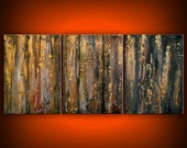 Art painting acrylic original painting grey metallic gold abstract wall art home decor modern abstract impressionist texture 20 x 48