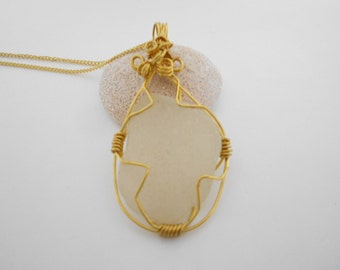 Clear Beach Glass Glass Pendant Gold Chain Necklace Wire Wrapped Pendant White Glass Pendant Ocean Glass Pendant Sea Glass Pendant