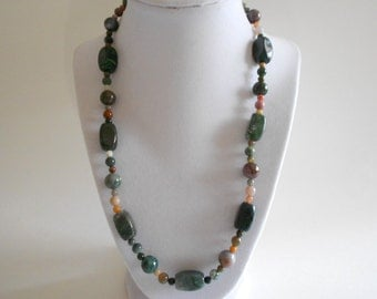 Green Beads Necklace Jasper Necklace Green Necklace Green Jasper Green Jasper Beads Fancy Jasper Beads Gold Tone Findings