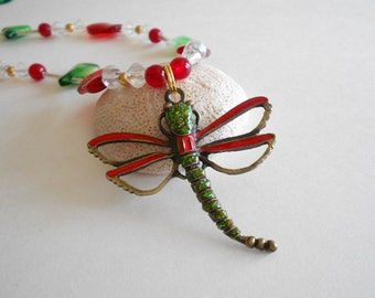 Green Beads Necklace Red Beads Necklace Glass Beads Necklace Dragonfly Pendant Green Necklace Red Necklace Beaded Necklace