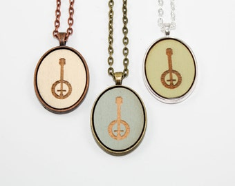 Banjo Pendant - Laser Engraved Wooden Cameo (Custom Made / Any Color)