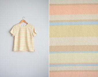 vintage '90s pastel yellow DESERT STRIPES short sleeve SILK shell blouse. size s.