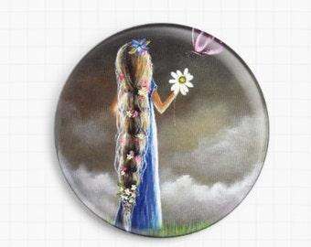 Needle Minder - Licensed Art By Shawna Erback - An Enchanted Moment - Rapunzel - Cross Stitch Keeper - Fridge Magnet