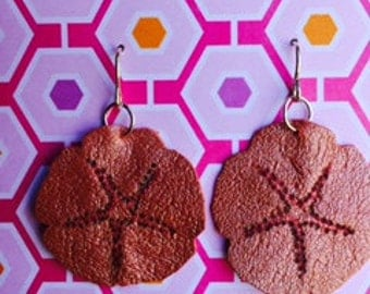 Leather Sand Dollar Earrings-Coral
