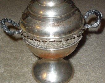 sale, victorian spooner, MARKED RODGERS SILVERPLATE 1901,bird perched on lid, copper underneath, clean inside