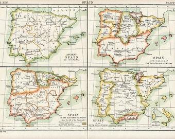 1887 Antique Map of Spain through the Centuries - Antique Spain Map
