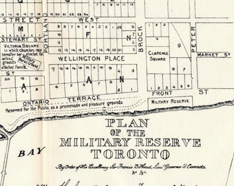 1908 Rare Map of Toronto in 1837 - Vintage Downtown Toronto Map - Plan of the Military Reserve