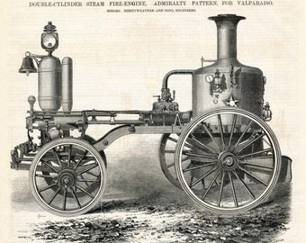 1869 Antique Print of a Double-Cylinder Steam Fire Engine - From The Engineer Magazine