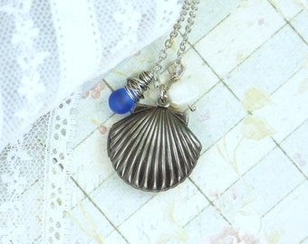 Shell Necklace Sea Shell Jewelry Locket Necklace Sea Glass Jewelry Nautical Necklace Beach Jewelry