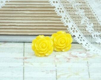 Yellow Stud Earrings Yellow Rose Earrings Rose Stud Earrings Yellow Flower Earrings Yellow Rose Studs