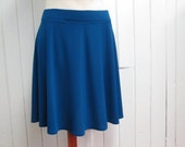 Blue skirt, semicircular, short and flared skirt, cobalt blue, royal blue, polyester and spandex, elastic waistband, XS, S, M, L