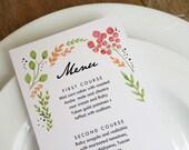 Watercolor Flowers Printable Menu Template - Wedding Menu - Printable Menu Template - Menu Template - Menu Cards - Printable Menu PDF