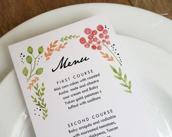 Watercolor Flowers Printable Menu Template - Wedding Menu - Printable Menu Template - Menu Template - Menu Cards - Printable Menu PDF