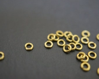 Tiny Little Raw Brass Round Jump Rings - 2.3mm x 0.5mm Thick -100 pcs