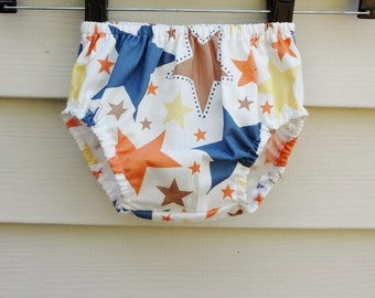 Bloomers READY TO SHIP  6-12 months Blue, Orange, and Brown Cowboy Star Print Diaper Cover