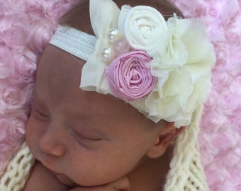 Baby Headbands ..Chiffon Rosette Collection....Newborn Collection...Headband Collection