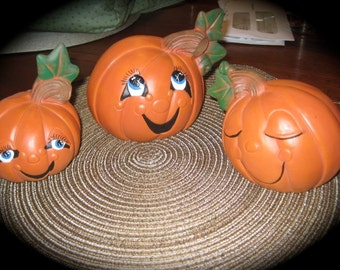 Pumpkins Halloween Vintage Decorations Hand Painted Ceramic
