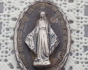 "Vintage Large Sterling Silver Miraculous Virgin Mary Medal Pendant 1-3/8"" long"