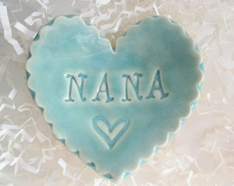 Best Nana gift, unique Mothers day gift, heart ring holder, heart ring dish