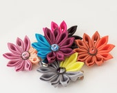 Flower Snap Alligator Clip Tsumami Kanzashi Maiko Rainbow Accessory Hair