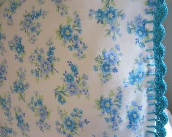 Pillowcase with Crochet Trim - Blue Posies