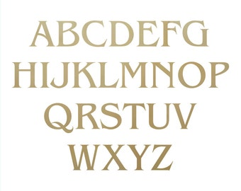 Wooden Craft Letters in Benguiat Font - unpainted letter, alphabet letters, wooden alphabet, wooden initials, wood initials, plywood letters
