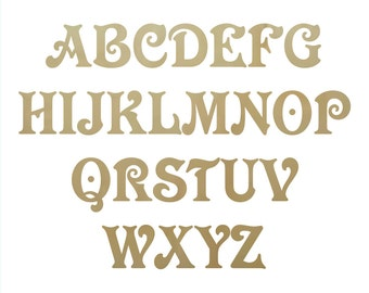 Wooden Craft Letters VictorianD Font - unpainted letter, alphabet letters, wooden alphabet, wooden initials, wood initials, plywood letters