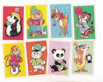 8 x Vintage Childrens Game Cards Cute Animals for Collage Altered Arts