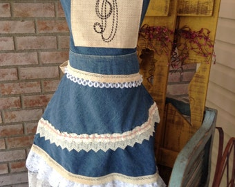 Shabby Chic  Apron UpCycled from a Denim Skirt