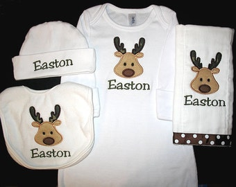 Custom Personalized Applique CAMO DEER and NAME Gown, Bib, Burp Cloth, and Hat Set- Olive Green, Brown, and Tan