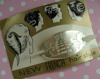 Stunning Vintage French Faux Shell and Wedding Large Hair Barrette  Original Card