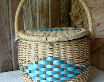 Beautiful Blue Vintage Large Sewing Basket