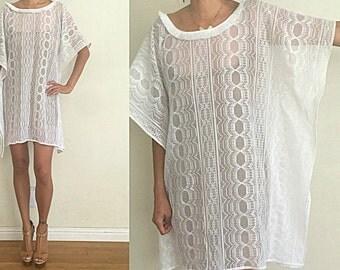 Vintage Upcycled White Stripe Lace Backless Caftan Boho Glam Festival Mini Dress S/M